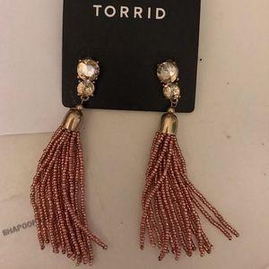 Torrid pink metallic tassel earring